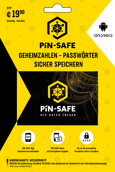 PIN-Safe Karte NFC offline Daten-Tresor für android