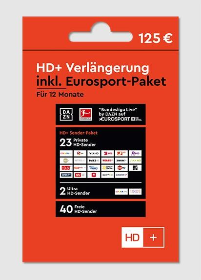 HD+ Plus Verlängerung inkl. Eurosport-Paket für 12 Monate HD01 HD02 HD03 HD04 + TV Key